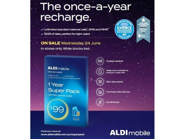 ALDI Mobile - 1 Year Prepaid Super Pack $99 (Unlimited Calls, SMS, MMS, 15GB Data)! Starts Wed