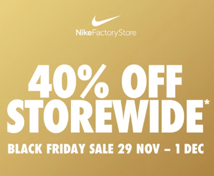 global Explicación Idear  Nike Factory Outlet - BLACK FRIDAY Sale: 40% Off Storewide [Thurs, 28th Nov  - Sun, 1st Dec 2019] | TopBargains