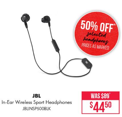 Bing Lee 50 Off Selected Headphones E G Jbl Inspire 500 In Ear Wireless Sport Headphones 44 5 Was 89 Etc Topbargains