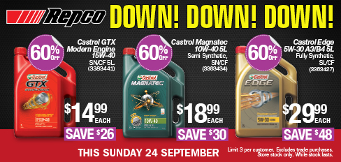 image relating to Castrol Oil Coupons Printable identified as Repco - 60% Off Castrol Lubricants e.g. Castrol Gain 5W-30