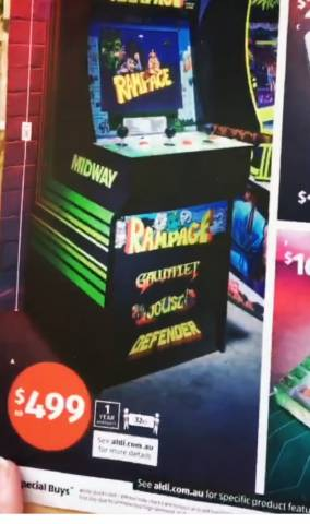 Aldi - Arcade One Game 17'' Colour Screen System $499 - Starts Wed