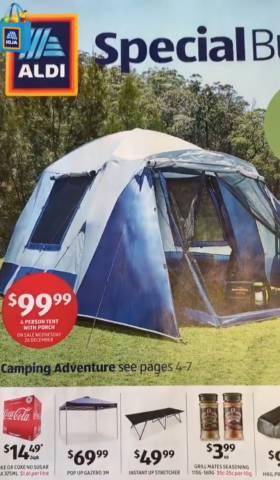 wholesale dealer e5da6 cae54 Aldi - Camping & Outdoor Sale - 4 Person Tent $99.99, Gazebo ...