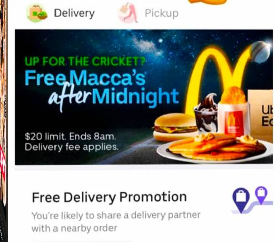UberEats - Free Mcdonald's Macca's for First 50,000