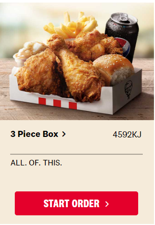 Kfc 3 Piece Box 11 95 3 Pieces Original Recipe Chicken Regular Chips Dinner Roll Regular Potato Gravy Drink Topbargains