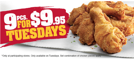 Kfc Tuesday Special 9 Chicken Pieces For 9 95 Nsw Vic