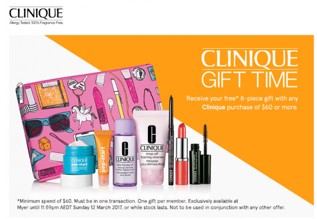 MYER - Free 8 Piece Gift when you spend $60 or more on Clinique | TopBargains