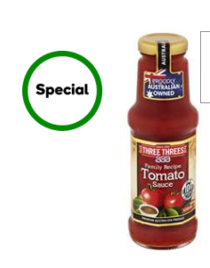 Woolworths Three Threes Tomato Sauce Tomato 275ml 1 5 Was 2 99 Topbargains