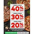Dominos - Spend & Save: 20% Off 1 Pizza | 30% Off 2 Pizzas | 40% Off 3 Pizzas (code)! Today Only