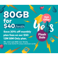 Optus - 20% Off $50 80GB Unlimited Talk & Text Plan, Now $40/Month