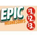 7-Eleven - Epic Wednesday Deals: $1 Cadbury Dairy Milk Hedgehog Bar; $2 Barista Bros Varieties;  $5 Sandwich Range $3 etc.