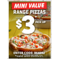 Dominos - Mini Value Pizzas $3 Pick-Up (code)