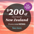 Air NewZealand - Black Flyday Sale: $200 Return Flights to New Zealand (code)! Today Only