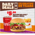 Hungry Jacks - 50th Anniversary Daily Deal: Bacon Deluxe Small Meal $5.5 Pick-Up via App! Today Only