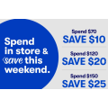 Big W - 2 Days Spend & Save: $10 Off $70; $20 Off $120; $25 Off $150 Spend [Printable Voucher]