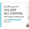 Snapfish - Flash Sale: 70% Off Canvas Prints (code)