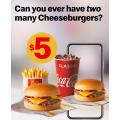 McDonald's - Small Cheeseburger Meal + Extra Cheeseburger $5 via mymacca's App - Valid until Sun 9th Aug