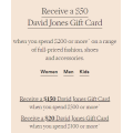 David Jones - 4 Days Sale: Bonus $20 / $50 / $150 Gift Card with $100 / $200 / $500 Spend