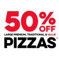 Dominos - 50% Off Large Premium/Super Premium and Traditional Pizzas (codes)! Selected Stores