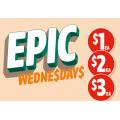 7-Eleven - Epic Wednesday Offers: 40g Snickers Crisper Bar $1; Traveller Pie $2; $2 148-150g Cadbury Block Varieties; Salad Range $3 (Was $5) etc.