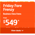 Jetstar- Friday Frenzy: Business Class Int. Fares from $509! 8 Hours Only