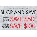 Spend & Save Offers At Guess - $50 Off On Spending $150, $100 Off on Spending $300