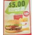 Hungry Jacks - Whopper Junior Small Value Meal $5 via App Voucher (Nationwide)