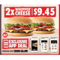 Hungry Jacks - 2 Whopper Cheese Burger for $9.45 via App - Pick-Up Only (Nationwide)