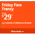 Jetstar - Friday Flight Frenzy - Domestic Flights from $29 e.g. Adelaide to Melbourne $29