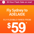 Jetstar - 36 Hour Flash Sale: Flight Fares from $59 e.g. Sydney to Adelaide $59