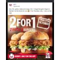 KFC - 2 For 1 Zinger Burgers (Buy One Get One Free Zinger Burger) via App - Thurs 17th October