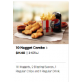 KFC - 10 Nuggets Combo $11.95 (All States)