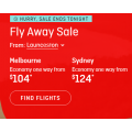 Qantas - Fly Away Sale: Domestic Flights from $104 e.g. Sydney to Gold Coast $104 etc.