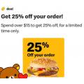 McDonald's - 25% Off Order via mymacca's App - Min. Spend $15