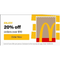 McDonald's: 20% Off Orders via App - Min. Spend $10 (Valid until Sun 16th Aug)