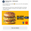 McDonald's - Free Big Mac via Facebook Post - (10:30 A.M - 2:30 P.M) Today! VIC Only