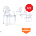 Amart - MIETTE Set of 4 Replica Philippe Starck Louis Ghost Armchairs $199 (Save $400)
