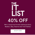 Myer - The IT LIST Sale: Take a Further 40% Off Men's Casual & Formal Clothing Clearance Items - Starts Today