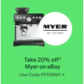 eBay Myer - 20% Off Storewide (code)! Starts 10 A.M Today