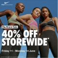 Nike Factory Outlet - Big Weekend Sale: 40% Off Storewide [Fri, 11th - Mon, 14th June 2021]
