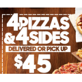 Pizza Hut - Latest Offers e.g. 4 Pizzas & 4 Sides $45 Pick-Up / Delivery; Free Garlic Bread with Any Large Pizza Purchase & More (codes)