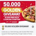 Pizza Hut - 50th Anniversary Giveaway: FREE 50,000 Pizza - Starts Monday 3rd August (10,000 Per Day)