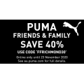 PUMA - Friends & Family Sale: 40% Off Storewide Incld. Clearance Items (code) e.g. Accessories $4.2; Shirts $12.5; Footwear $24 (Was $110) etc.