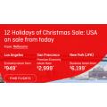 Qantas - 12 Days of Christmas Sale: Up to 30% Off International Return Flights to U.S.A Cities