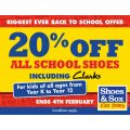 Shoes & Sox - 20% off all school shoes in back to school sale!