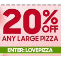 Valentine's Day: 20% off Any Large Pizza @ Pizza Hut