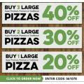 Dominos - Spend & Save: Buy 3 Get 40% Off | Buy 2 Get 30% Off | Buy 1 Get 20% Off Large Super Supreme, Premium & Traditional Pizzas (code)