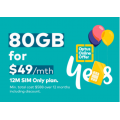 Optus - $10 Off Unlimited Talk & Text 80GB 12M SIM Only Plan, Now $49 (Min. total cost $588)! Online Only