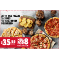 Pizza Hut - Latest Offers: 3 11'' Large Pizzas, 2 Sides, 1.25L Drink Delivered $35.95 Delivered; Large Pizza, 2 Medium Pizzas, Garlic Bread, Hershey Cookie $40 Delivered etc. (codes)