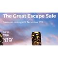 Virgin Australia - The Great Escape Sale: Up to 25% Off Domestic Flights e.g. Gold Coast ----> Sydney $89