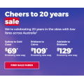 Virgin Australia - 20th Year Celebration Sale: Domestic Flights from $69 e.g. Sydney to Gold Coast $69 etc.
